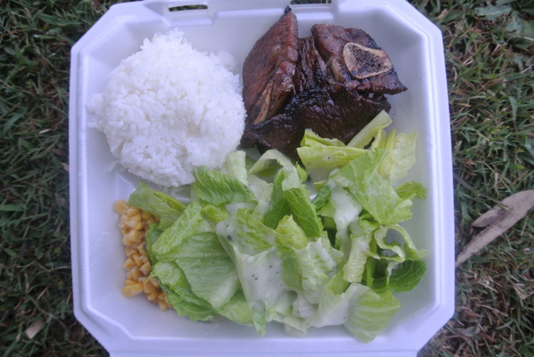 Amazing bbq plate with Kalbi pork, sticky rice, and corn.