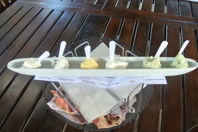 Sample of 6 of the soft goat cheeses from Surfing Goat Dairy Farm